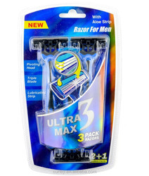 Tripe Blades Razor with 3 4 5 6 Lubricating Strip and Super Rubber Handle 3 in Blister Card Duck Blue Color