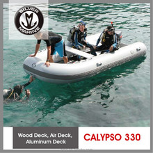 Silver Marine 3.3 meter hypalon inflatable rib boat,inflatable yacht tender (Calypso 330) wood deck boat
