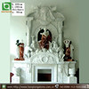 Double White Marble Fireplace Mantel With Statues