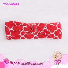2015 New style soft infant sport headband red quatrefoil cotton baby turban headband
