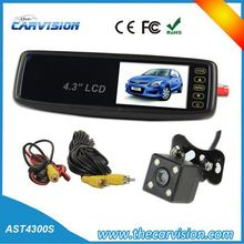 "4.3"" Mirror monitor rearview system,dual car cam system"
