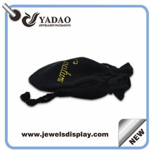 2015 handmade customized jewlry pouch with logo black leather jewelry pouches