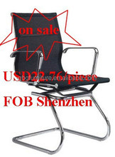Metal Office Conference Chair in Black Mesh On Sale