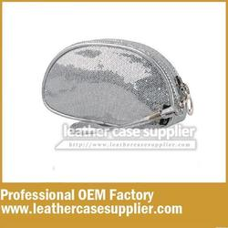 china supplier OEM new style Metallic pu leather cosmetic bag