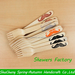 Disposable wooden spoon and fork / Wooden fruit cake fork / Customized logo wooden spoon