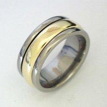 Titanium Rings for men - gold inlays