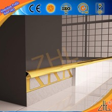 HOT! Good view use widely gold anodized aluminum tile trim, flexible aluminum trim / aluminum floor trim