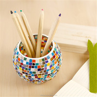 2015 hot sale mosaic candle holder glass mirror vase glass jars for flower and candle holder