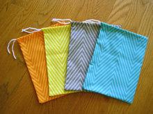 100% COTTON Zig Zag, Herringbone, Stripe, Chevron Drawstrings Bag