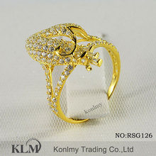 RSG126 high fashion micro pave setting gold plated 925 sterlKonlmy Trading Co., Ltd, a professional jewelry manufing silver ring