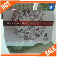 HIgh class plastic authenticity certifate of jewelry card