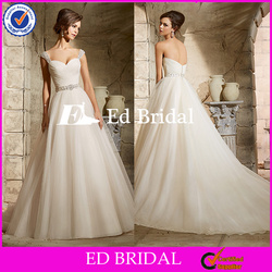 ST558 Charming Shining Cap Sleeve Bare Back Beads And Sequins Ball Gown Wedding Dress Wedding Gown