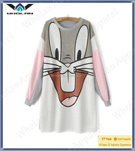 Wholan wholesale women pullover t-shirt bugs bunny print t-shirt long t-shirt for women