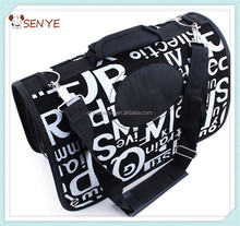 Pet dog folding carrier bag travel dog bag with Black and white letters