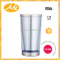 500ml red stainless steel inside and plastic outside travel mug