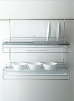 Adjustable kitchen shelf double bowel and plate holder