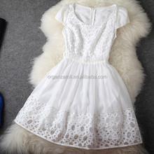 2015 de moda bordado mujeres del verano del organza vestido de tela