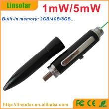 USB Rechargeable Lithium Battery Green Beam Ballpen 5mW Green Laser Pointer
