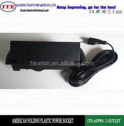 American folding plastic 2 outlet power socket