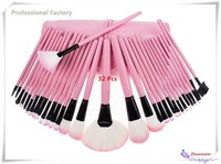 Woman's Pink 32 Pcs Make Up Tools Pincel Maquiagem Professional Superior Soft Cosmetic Makeup Brush Set Kit + Pouch Bag Case