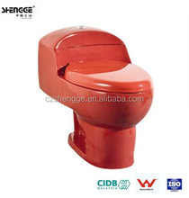Chaozhou ceramic one piece siphonic red sanitary toilet