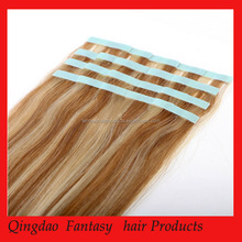 Fashion piano color 100% remy human hair tape weft or stick hair weft