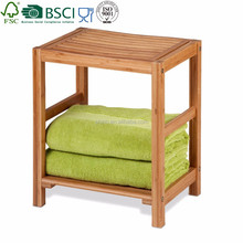 Bamboo Spa bathroom Bench with Contoured Seat, bamboo storage rack, bathroom accessories
