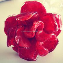 wholesale decorative cheap artifical flowers; glass rose valentine; wedding souvenir hand blown glass flowers
