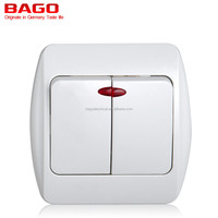 European style 2 gang 1 way wall switch with light