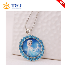 2015 Winter Frozen Elsa Princess Rhinestone Pearl Paved Pendant Necklace Fashion Children Cartoon Jewelry Christmas Gifts