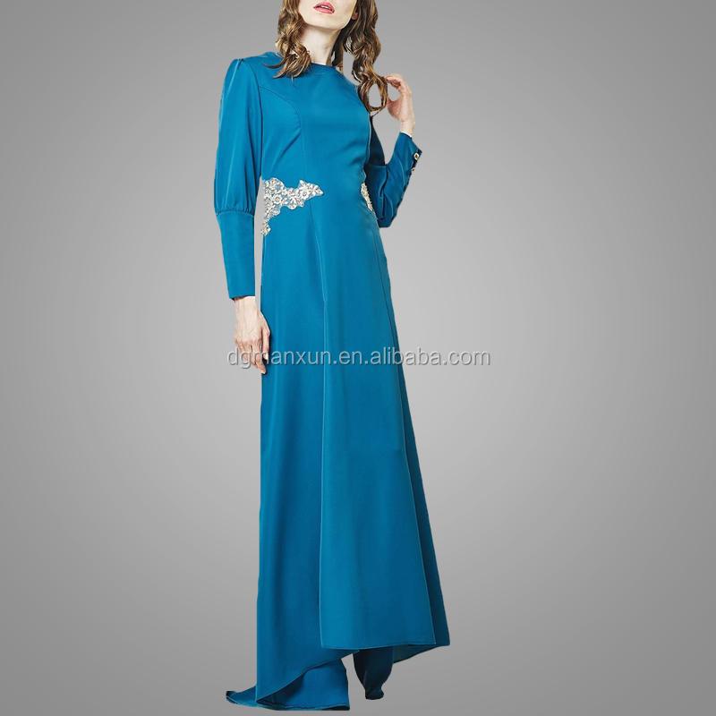 2017 Fashion muslim evening dresses lace applique islamic abayas modest turkey women dress (3).jpg