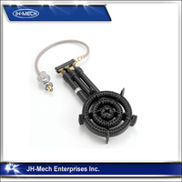 Cast iron commercial gas burner for outdoor cooking