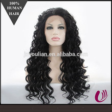 2015 Fashion style jet black deep wave Synthetic Wigs,sexy synthetic wigs for women,synthetic lace front wig