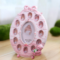 baby 12 month photo frame 13 boxes 2015 hot sale high quality pink large angle adjustable resin decorative 0.8kg 25cm x 33cm