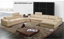 JR8039 elegant Modern stylish elegant genuine grain leather large U shape living room salon sectional soft sofa couch set