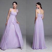 2015 Elegant Fashion Dress Spaghetti Straps Girls Floor Length Purple Chiffon Bridesmaid Dresses Patterns