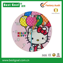 Animal Cat Wooden frame wall clock for kids room
