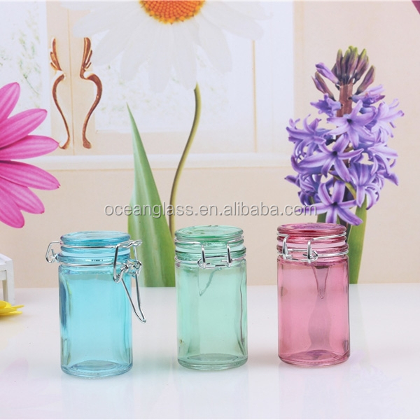 Small size colored glass spice jar with clip lid for Small colored glass jars