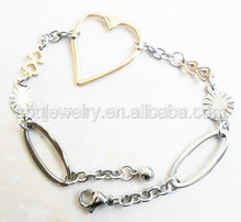 SB50121900(61) Wholesale Fashion Two Tone Big Heart Chain Charm stainless steel Bracelet for Women