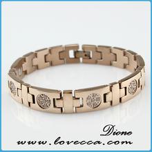 Infrared ion rose gold magnet bracelets,top grade stainless steel bracelet,wholesale stainless steel bangle energy bracelet