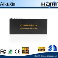 High Speed HDMI v1.4 HDMI 4x2 Matrix Switch (4 in 2) support 1080p 3D 4K * 2K