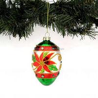 christmas tree egg shape ornament hand painted colorful glass christmas ball