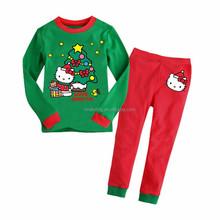 Algodão de manga comprida crianças define vestuário ternos pijama 2 peça sleepwear moda pai natal