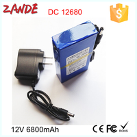 Portable regargeable DC output DC-12680 6800mAh recharge li-ion polymer 12v battery pack for tools