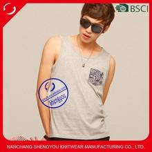 Custom wholesale fashion design 100% cotton tank top men with pocket