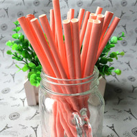 Eco friendly set of 25 pure colored biodegradable paper straw