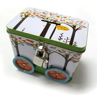 small car shape lunch tin box with lock