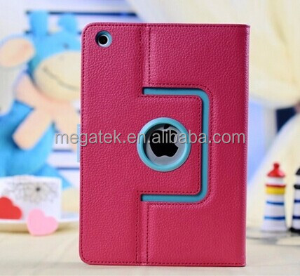 Tablet case cover dual color leather rotating case for ipad mini, for mini ipad case rotating ,for ipad mini case leather