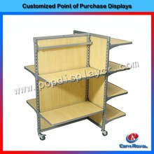 custom high quality retail store wood clothes display stand