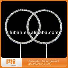 Cristal rhinestoneclear anel duplo bolo topper pilares para favor do casamento flores